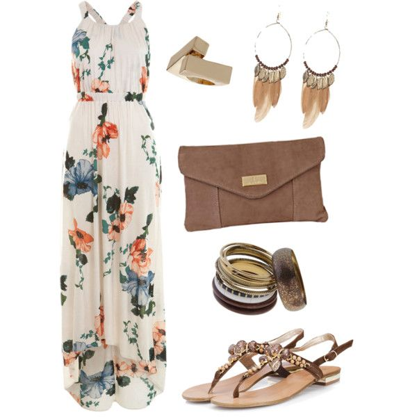 Cream/Orange/Blue/Green, Brown & Gold Outfit., created by abbielouu on Polyvore