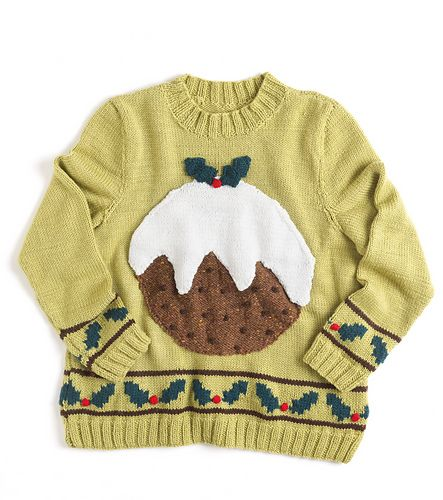 This colourful Christmas sweater is knitted in Aran weight yarn and uses fairisle and intarsia techniques. The edgings around the bottom and cuffs is knitted using the fairisle technique and the pudding is knitted and then sewn on afterwards. The sweater is knitted from a chart and written instructions for each size.