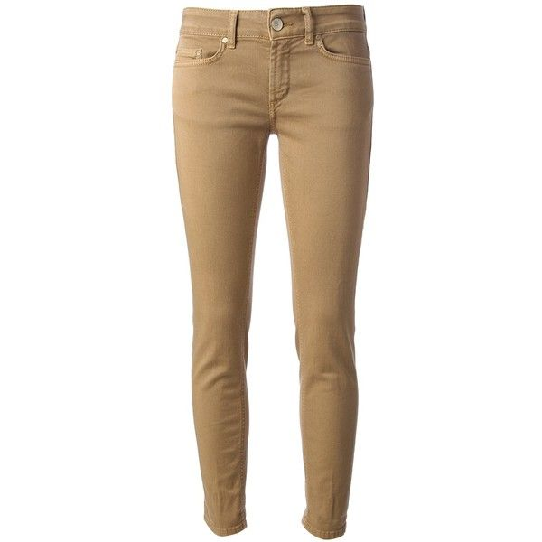 DONDUP skinny jean ($170) ❤ liked on Polyvore featuring jeans, pants, bottoms, calças, pantalones, denim skinny jeans, dondup, brown jeans, cropped skinny jeans and zipper jeans
