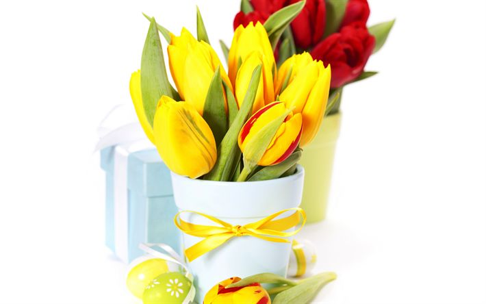 Download wallpapers bouquet of tulips, Easter, decorated eggs, yellow tulips, spring flowers