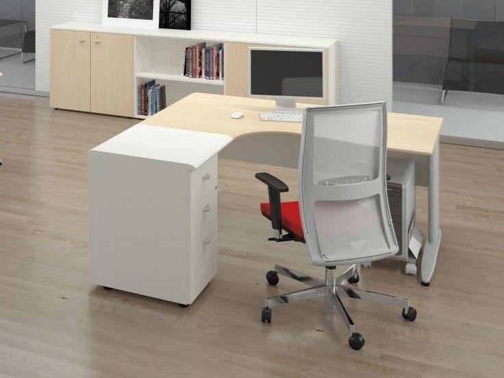 Офисный угловой стол с тумбой - Format - http://mebelnews.com/ofisnyj-uglovoj-stol-s-tumboj-format
