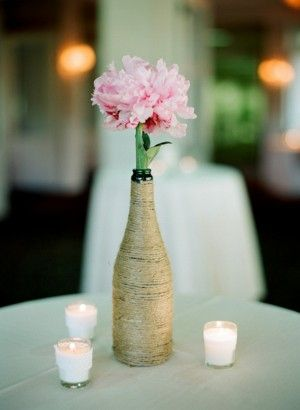 Twine-Wrapped-Vase. i like this idea, cheap simple and sweet looking