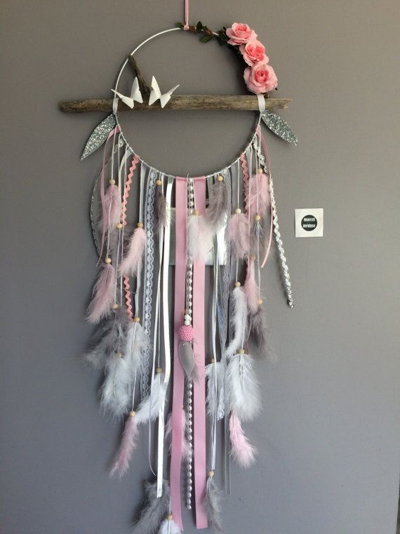 Dream Catcher With Driftwood Feathers And Flowers Fabric