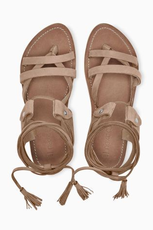 In a neutral mink colour, these gladiator sandals are the go-to footwear choice this summer.