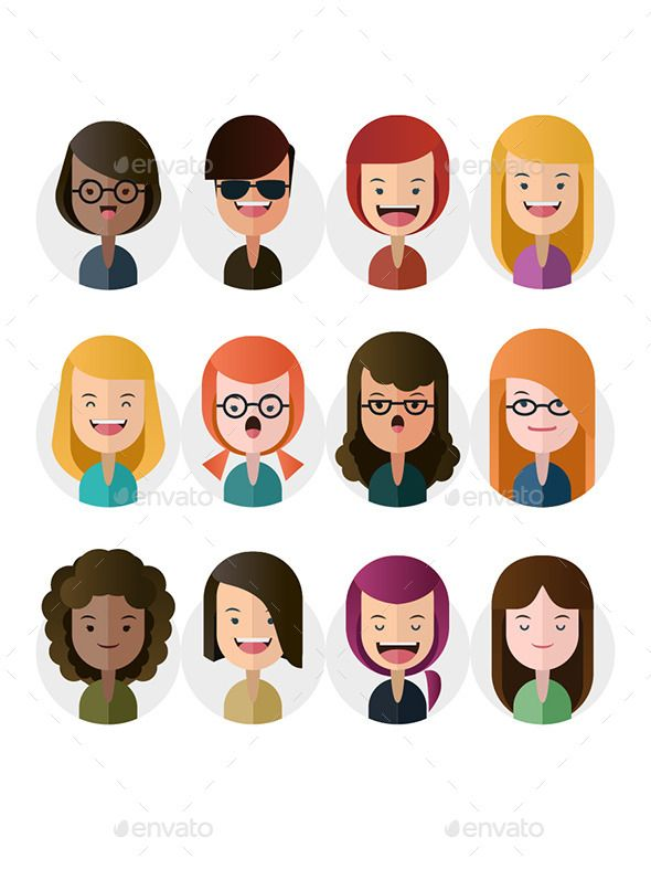 Flat female avatars illustration Click for full graphic detail infomation tag: avatar, female, flat, illustration, people, vector