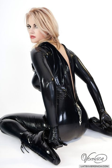 Latex Catsuit Gloves And Ballet Heels