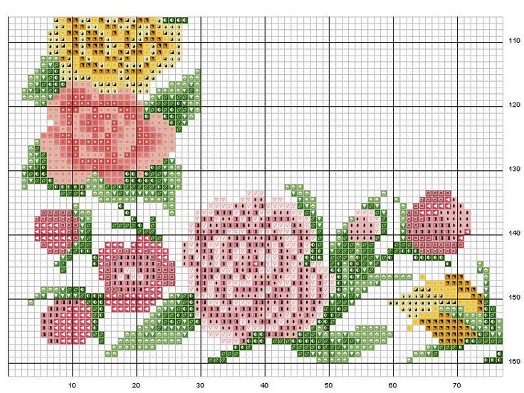 Schema punto croce Cornice-fiori-2