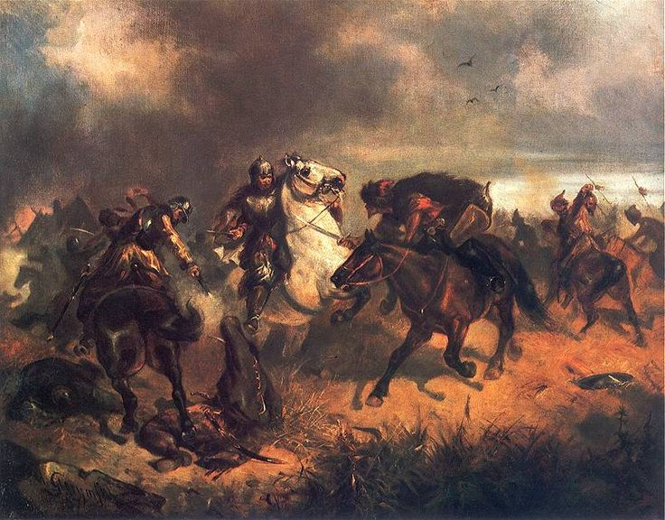 Skirmish with Tatars by Maximilian Gierymski [[MORE]] One of my favorite Gierymski's, honestly the image of the Polish soldier executing a Tatar that looks like he is about to surrender complete sums...