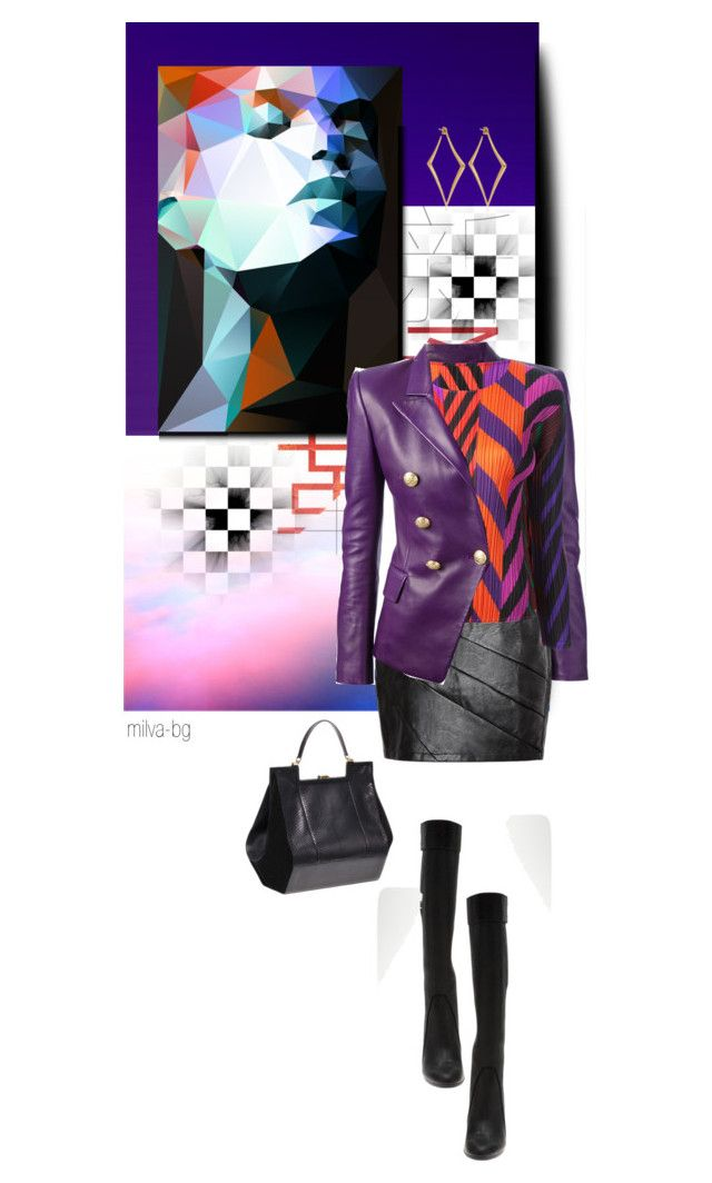 """""""Purple"""" by milva-bg ❤ liked on Polyvore featuring Balmain, Retrò, Pleats Please by Issey Miyake, 3.1 Phillip Lim and Dinny Hall"""
