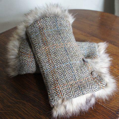 Harris Tweed wrist warmers