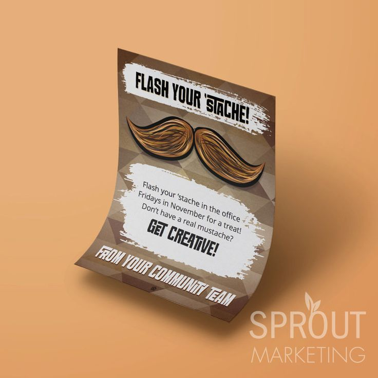 Printable for mustache fun this Movember in the leasing office! Sprout is making it easy for members to sprout a 'stache! #apartmentliving #residentappreciation #sproutmembership