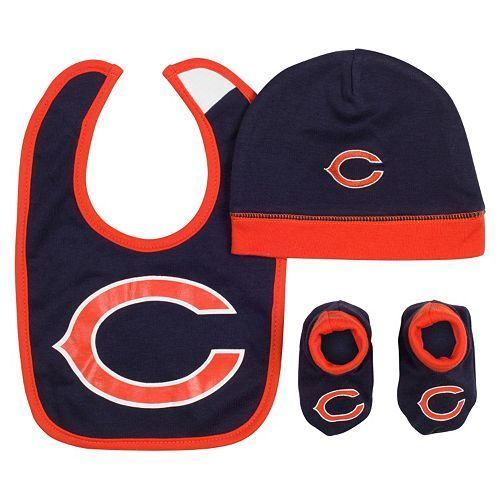 NFL Bears 3 Piece Gift Set Baby Bib Hat Cap Booties Size 0-6 Mo Boys Girls (L23) #NFL #Everyday