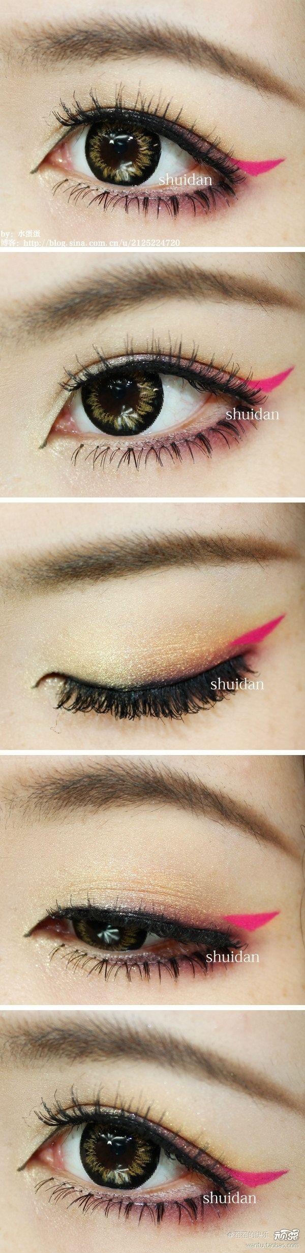 Añade una pequeña cola de color rosado fuerte en las esquinas. | 19 Ideas asombrosas de maquillaje para asiáticas