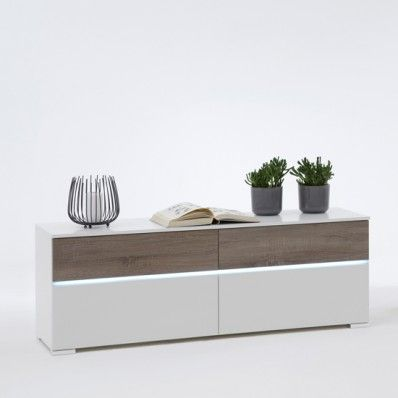 Elegant Light Low TV Sideboard In White And Dark Oak With Light