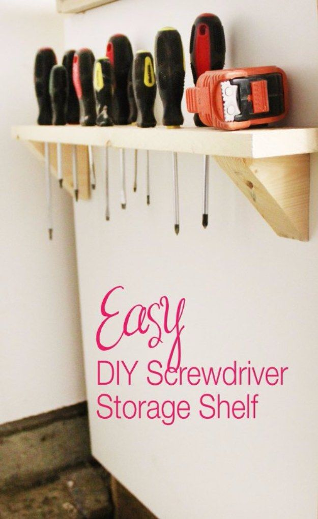 DIY Projects Your Garage Needs -DIY Screwdriver Storage  - Do It Yourself Garage Makeover Ideas Include Storage, Organization, Shelves, and Project Plans for Cool New Garage Decor http://diyjoy.com/diy-projects-garage