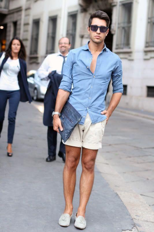filippo fiora  via www.thethreef.com: Chambray Shorts, Fashion Men, Summer Fashion, Classic Shorts, Balenciaga Clutches, Men Style, Men Fashion, Summer Shorts, Khakis Shorts