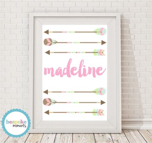 Tribal Arrow Name Print by Bespoke Moments. Worldwide Shipping Available.