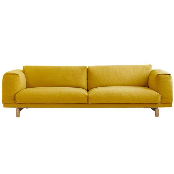 Rest sohva, kolmen istuttava, keltainen