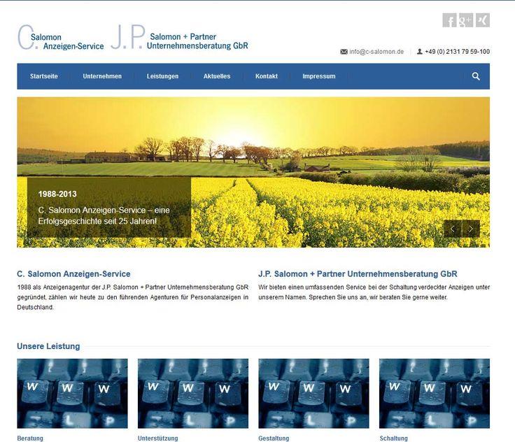 C. Salomon Anzeigen-Service  1988 als Anzeigenagentur der J.P. Salomon + Partner Unternehmensberatung GbR gegründet, zählen wir heute zu den führenden Agenturen für Personalanzeigen in Deutschland.