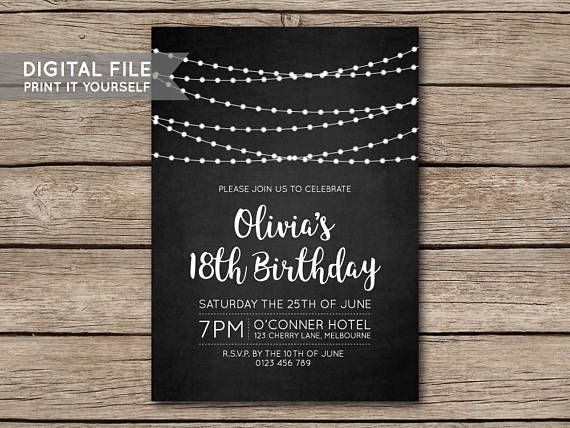 DIY Fairy Lights Chalkboard Birthday Party Invitation Invite