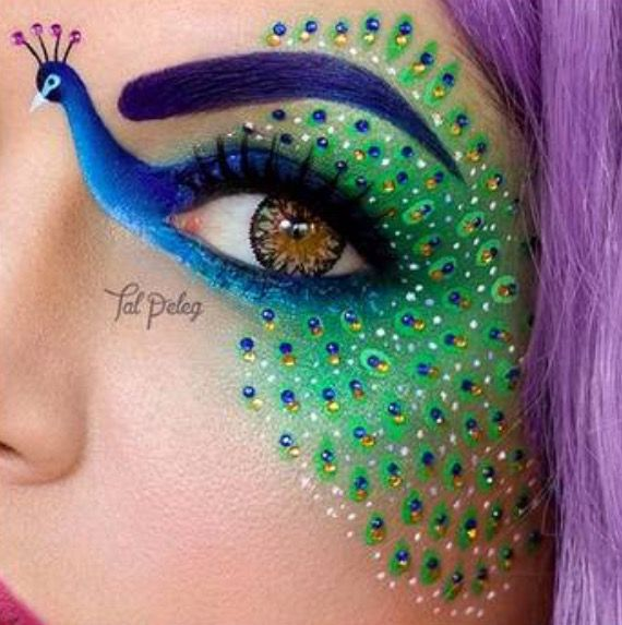 Peacock painted eye. Beautiful face art. This eyelid art is on fleek (13 photos). Please also visit www.JustForYouPropheticArt.com for more colorful art you might like to pin. Thanks for looking!
