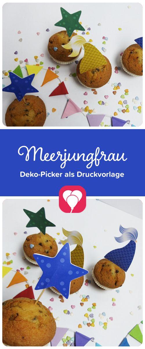 Unter-Wasser-Deko! Mit diesen süßen Dekopickern verzauberst Du Dein Essen im Meerjungfrau-  und Unter-Wasser-Motto. Runterladen - ausdrucken - basteln - fertig!  Auf blog.balloonas.com findest Du viele weitere schöne Ideen für Deinen  nächsten Kindergeburtstag! #meerjungfrau #motto #mottoparty #kindergeburtstag #party #arielle #deko  #download #vorlage #diy #cupcake #unterwasser