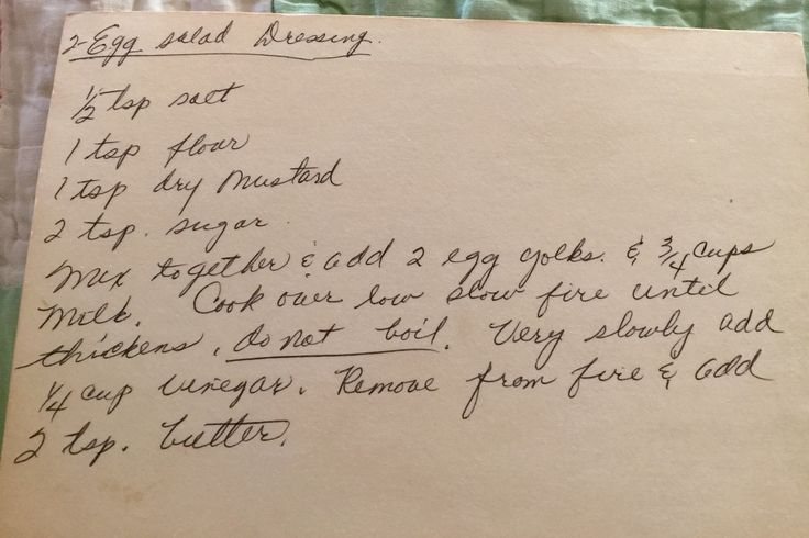 Homemade Two-Egg Salad Dressing -- vintage recipe