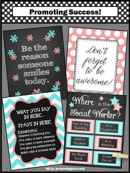 "Social Worker Office Door Signs Aqua & Coral Chevron Decor Set of 4 Posters: These printable signs make great gifts for back to school, Christmas, or the end of the year. You will receive inspirational quotes, confidentiality rules and a ""Where is the Social Worker?"" door sign. Attach a clothespin to the door sign to indicate your location."
