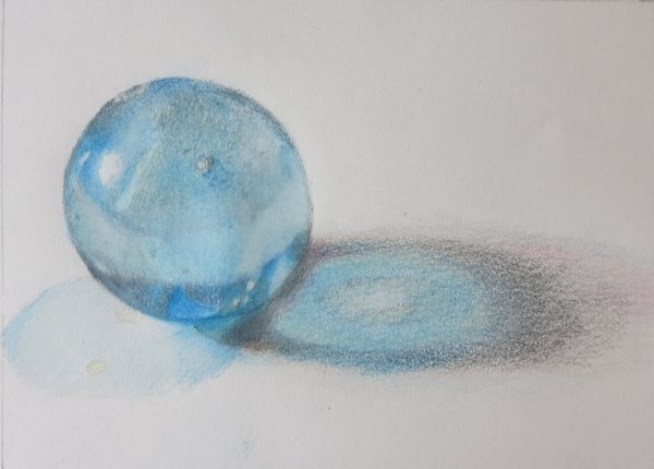 Finished Drawing of Marble - Drawing with Colored Pencils on Craftsy by Sandrine