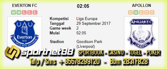 Prediksi Skor Bola Everton vs Apollon 29 Sep 2017 Liga Eropa di Goodison Park (Liverpool) pada hari Jumat jam 02:04 live di beIn Sport 1