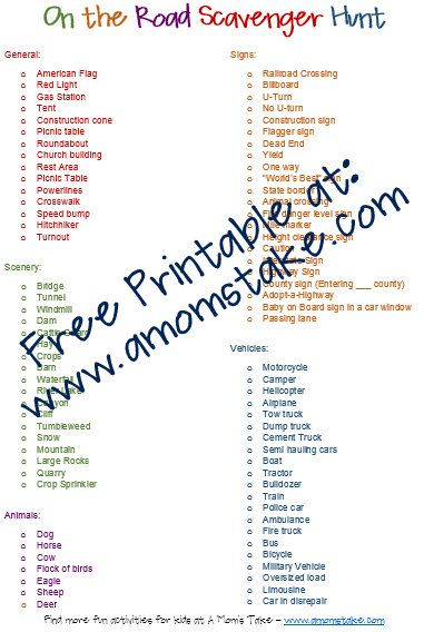 On the Road Scavenger Hunt - Free Printable Game