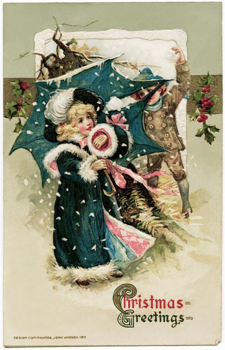 37 best christmas songs old fashioned christmas cards images on free vintage christmas graphic children snowball fight illustration blue coat umbrella winsch john winsch christmas postcard old fashioned christmas kristyandbryce Image collections