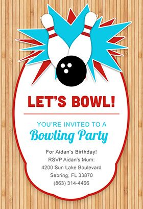 """A night out Bowling"" printable invitation. Customize, add text and photos. print for free!"