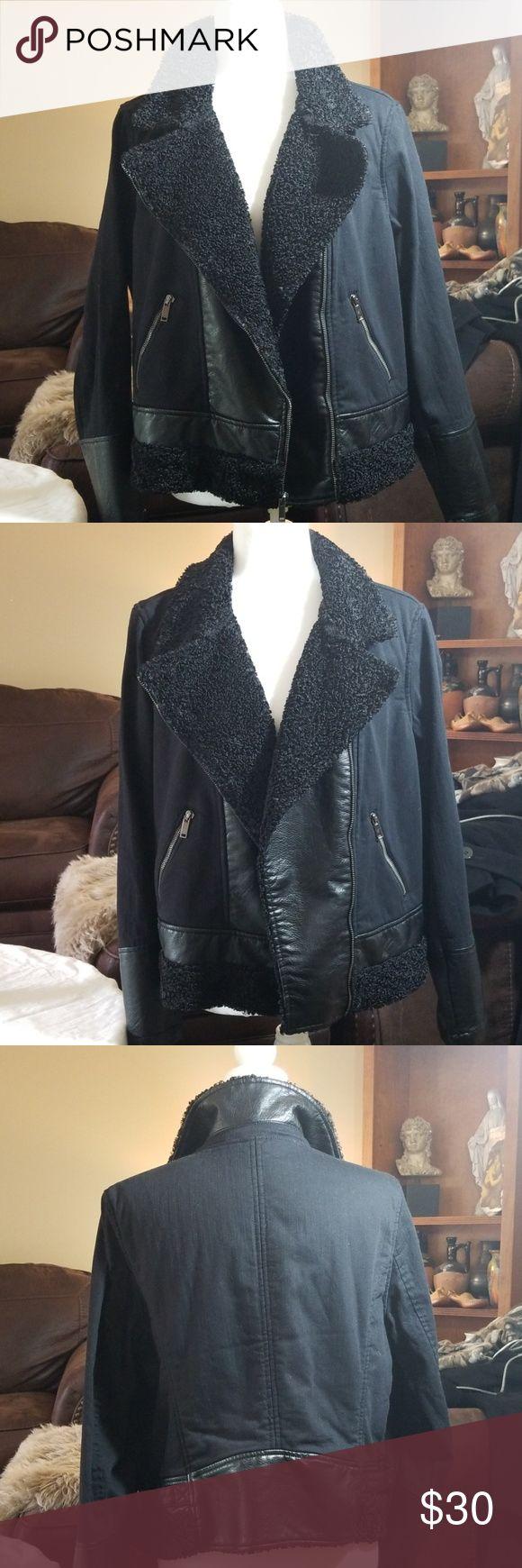 Black Rock n Republic Sherpa moto jacket Fauxleather