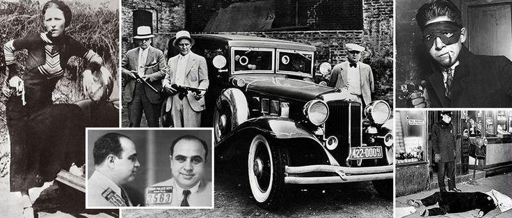 Удивительные снимки показывают отъявленных бандитов, таких как Аль Капоне, которые совершил насильственные преступления, чтобы быстро разбогатеть в начале 1930-х годов. В то время фондовый рынок Америки рухнули, многие пошли в криминал, что бы заработать.