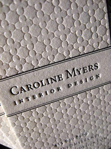 Interior Design Business Names | Textured Letterpress Business Cards - Interior Design Closeup