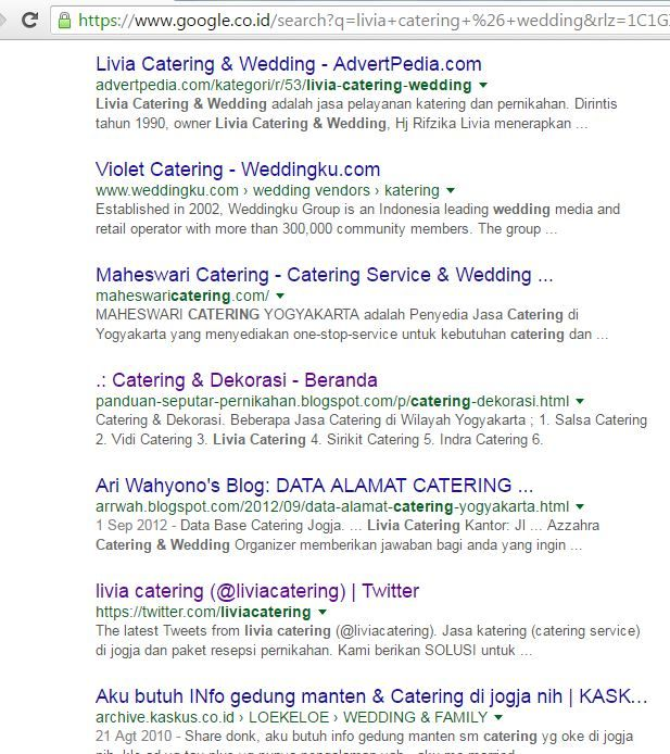 Page Livia Catering every day maintance on team has made the top position in the google search engine...More info : 0813 2830 5569