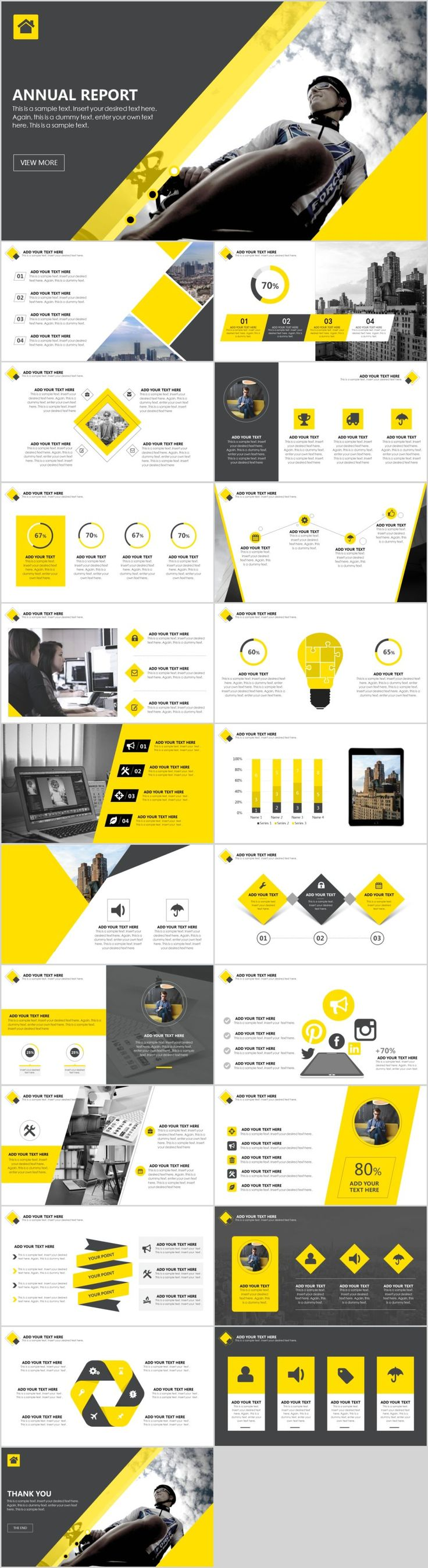 117 best powerpoint and graphic design images on pinterest best yellow annual report powerpoint template toneelgroepblik Image collections