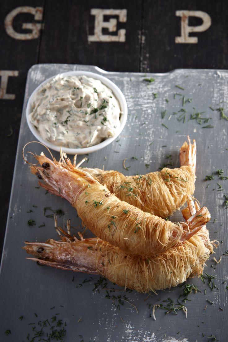 Γαρίδες σε κανταϊφι, σάλτσα με άνηθο και κρεμμυδάκι