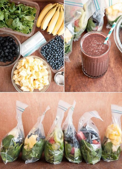 Smoothies are great - but who has time to do all that prep every morning? ;) Check out this free tutorial to make a month of smoothies in one hour - which simplifies the process, saves a ton of time and sets it all up in advance so that in the morning, all you have to do is stumble downstairs, pull one out of the freezer, break it up and then blend away!