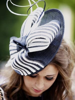 Navy and white saucer hat, Royal Ascot