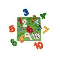 Number Board. All the numbers can be removed to reveal number shapes underneath with the same quantities of animals painted on that number shape. This underneath number can also be removed making this a really fun and interesting educational toy for kids. Made from solid wood and hand painted with safe and colourful paints.