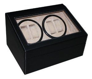 """TimelyBuys 4 + 6 Black Leatherette Automatic Watch Winder & Storage Case TimelyBuys. Save 42 Off!. $109.99. Tastefully winds four watches, while offering convenient storage for an additional six watches. AC Power adaptor included; operates with 2 AA batteries as an alternative power source. Movement Specifics:  Rotates clockwise for 5 minutes, rests for 15; moves counterclockwise for 5 minutes, rests for 15, and repeats. Case measures 9 1/2"""" x 12"""" x 7"""" and individual watch slots measu..."""