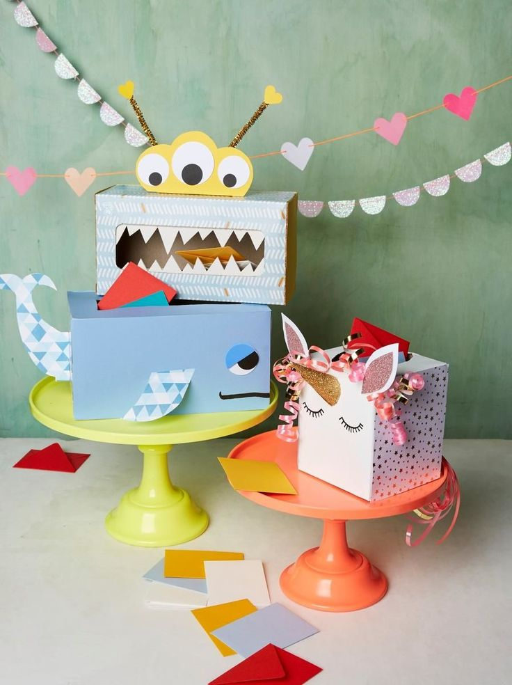 Upcycle empty tissue boxes into cute critters that double as V-Day class mailboxes.