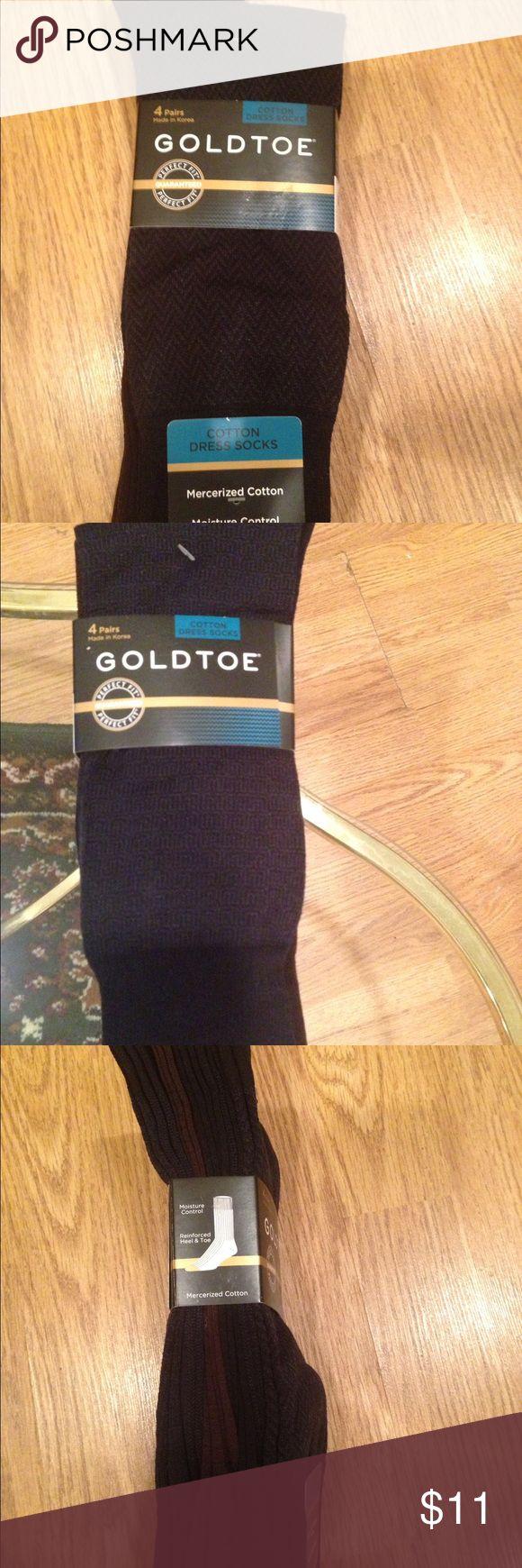 Men GoldToe Cotton Dress Socks Bundle of  Four. 4 - Pairs Of GoldToe Men Dress Sock.Perfect fit. Moisture Control, reinforced heel and toe. Different designs. Shoe size -6/12. Cotton,nylon and spandex blend. Gold Toe Underwear & Socks Dress Socks