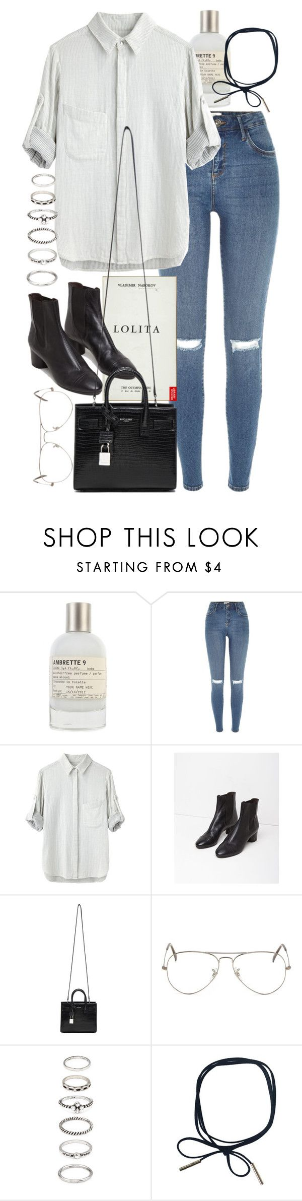 """""""Untitled #9272"""" by nikka-phillips ❤ liked on Polyvore featuring Le Labo, River Island, rag & bone, Isabel Marant, Yves Saint Laurent, Ray-Ban and Forever 21"""