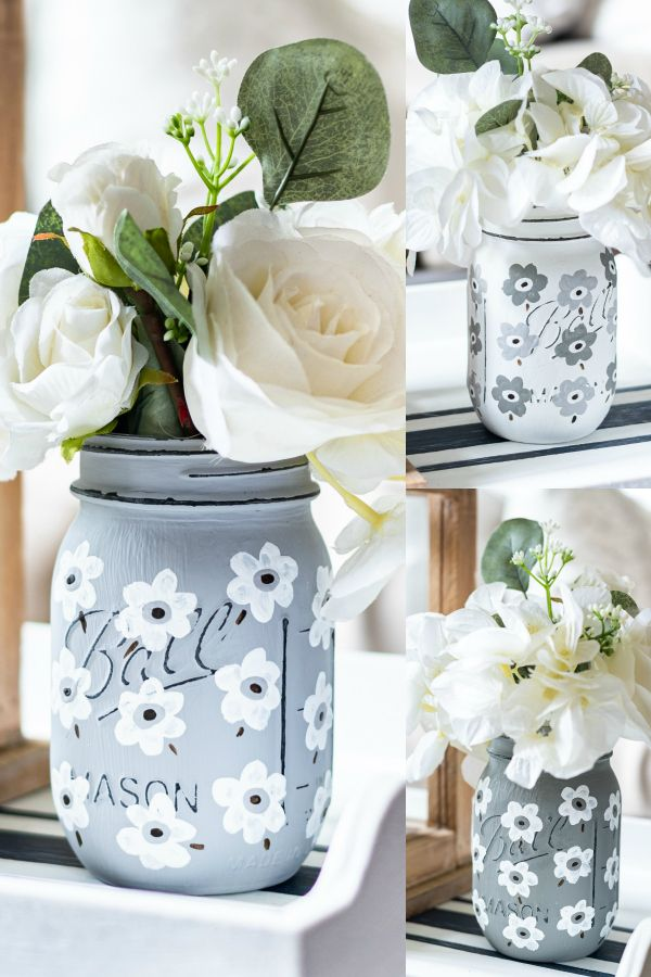 White Poppy Painted Mason Jar Painted Mason Jars Mason Jar Diy Jar Crafts
