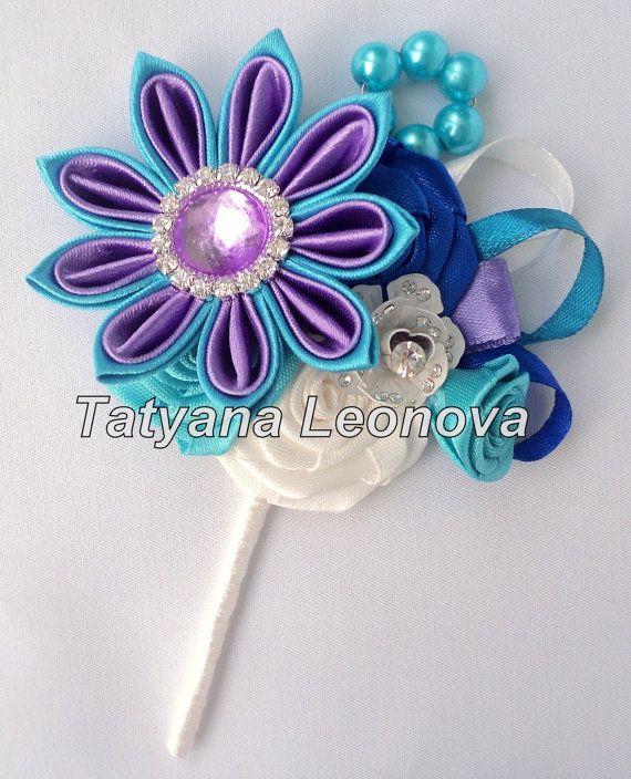 Fiore all'occhiello turchese viola blu di LIKKO su Etsy