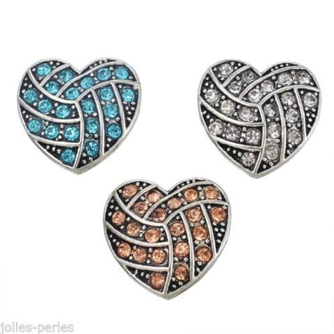 JP 3 PCs Silver Tone Mixed Heart Shape Rhinestone Snap Button Click Jewelry 2cm