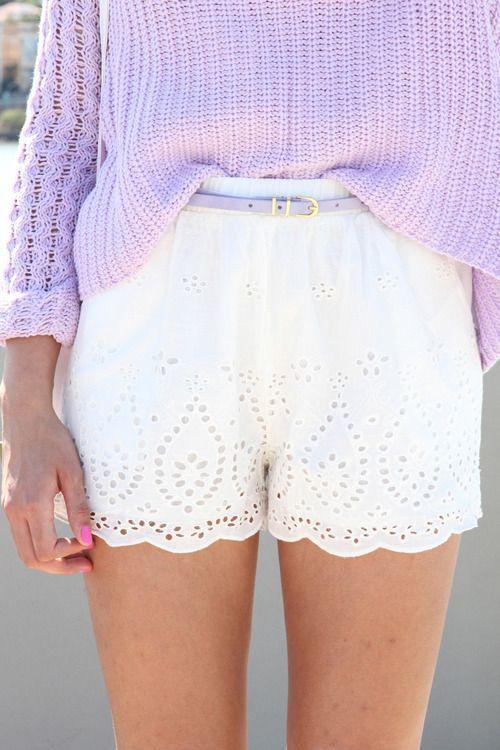 Eyelet Shorts & Lilac Sweater